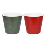 Textured Emerald and Red Pots (Lg Sz) (12 Pc)