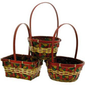 Red and Green Wicker Baskets (24 Pc)