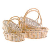 Oval White Washed Willow Baskets (16 Pc)