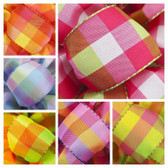 #9 Wired Bright Plaid Ribbon (12 Pc)