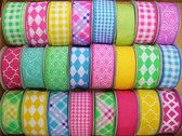 Bright Printed Wired Ribbon (24 Pc)