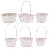 Painted White Wicker Baskets (24 Pc)