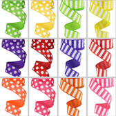 #9 Bright Horizontal Stripes &  Large Polka Dots Ribbon (12 Pc)