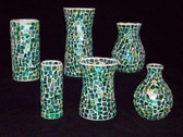 Green Mosaic Vase Assortment (6 Pc)