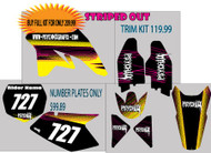 Motorcycle/Dirt Bike Full Graphics | Striped Out Design | Yellow/Black/Pink