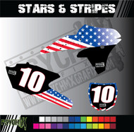 Motorcycle/Dirt Bike Full Graphics   Stars & Stripes Design   Red/White/Blue - White Background