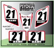 ATV Number Graphics Sticker Set / PsychMxGrafix / Layered Graphics / White, Honda Red & Black