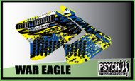 Motorcycle/Dirt Bike Full Graphics | War Eagle Design | Yellow/Blue