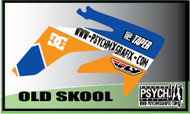 Motorcycle/Dirt Bike Full Graphics | Old Skool Design | Blue/Orange