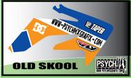 Motorcycle/Dirt Bike Graphics Stickers Set / PsychMxGrafix /Old Skool Graphics /Blue Orange
