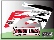 Motorcycle/Dirt Bike Full Graphics | Rough Lines Design | Red/Black - White Background