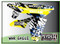 ATV Graphics / www.psychmxgrafix.com / War Eagle Design / White, Suzuki Yellow, Blue & Black
