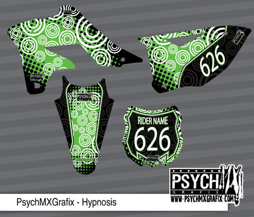Motorcycle/Dirt Bike Graphics Stickers Set / PsychMxGrafix / Hypnosis (Green)