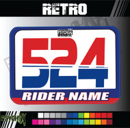ATV Number Graphics | Retro Design | Red/Blue/White