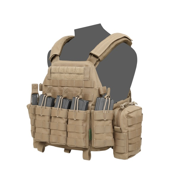 Warrior Assaut Systems Dcs Special Forces Plate Carrier on tactical radio pouch