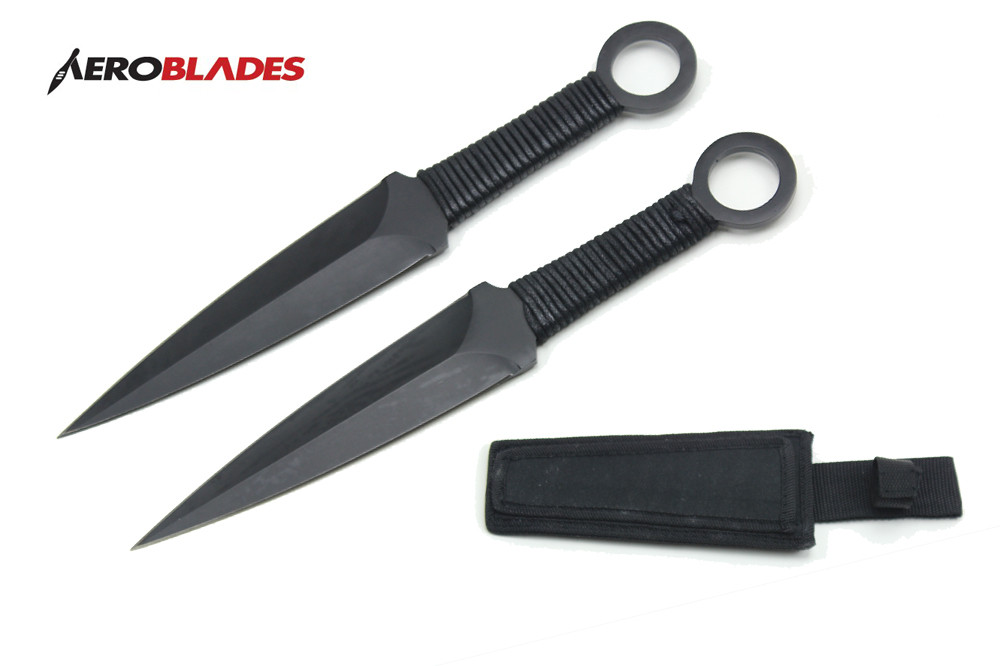 "2 PC 12"" Black Thower Kunai Ninja Throwing Knife with Cord ..."