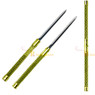 2 in 1 Gold Double Bladed Ninja Sword Staff Spear Short