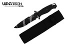 "12"" Camo Black Hunting Tactical Survival Knife with Sheath - Partial Serrated Blade"