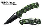 "Wartech 8"" Assisted Folding Knife - Skull Green"