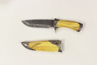 "11"" Damascus Blade Hunting Knife with Yellow Handle"