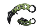"6"" Assisted Open Karambit Knife with Green Handle Key Ring"