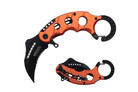"6"" Assisted Open Karambit Knife with Orange Handle Key Ring"