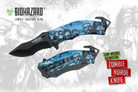 "Biohazard Zombie Survival Gear ""The Horde"" Assisted Opening Rescue Knife Blue"