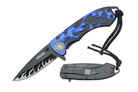 "Wartech 8"" Assisted Open Knife with Clip and Blue Flame Handle"