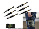 6 Pcs 6.5 Ninja Throwing Knife Thrower  with Case - Black Arrows