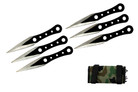 6 Pcs 6.5 Two Toned Bladed Black Throwing Knife Set With Camo Carrying Case.