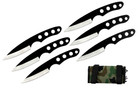 "6 Pcs 6.5"" Drop Point Throwing Knife Set Thrower with Camo Carrying Case"