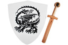 "16"" Wood Dragon Shield with Sword"