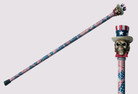 "34"" Skull in Hat Handle Steel Walking Stick Gentleman's Cane - American Flag"