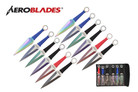12 Pcs Aero Blades Two Tone Kunai Throwing Knife Set Multi Colors with Sheath 9 inches Thrower - A969912ASTD