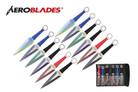 12 Pcs Aero Blades Two Tone Kunai Throwing Knife Set Multi Colors with Sheath 9 inches Thrower - A969912ASTD