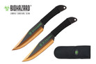2 Pcs Biohazard Zombie Killer Throwing Knife Set with Sheath 9 inches Thrower - A72772GD