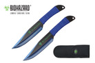 2 Pcs Biohazard Zombie Killer Throwing Knife Set with Sheath 9 inches Thrower - A72772BL