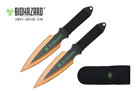 2 Pcs Biohazard Zombie Killer Throwing Knife Set with Sheath 9 inches Thrower - A71772GD
