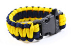350 Paracord Parachute Cord Military Survival Bracelet with Whistle Black Yellow