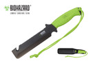 "12"" Biohazard Zombie Devil's Harvest Hunting Knife with Serrated Blade and Green Handle"