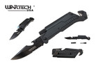 "8"" Wartech Tactical Spring Assisted Opening Folding Knife with LED Light and Fire Starter - YCS9045BK"