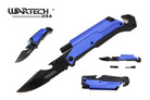"8"" Wartech Tactical Spring Assisted Opening Folding Knife with LED Light and Fire Starter - YCS9045BL"