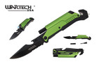 "8"" Wartech Tactical Spring Assisted Opening Folding Knife with LED Light and Fire Starter - YCS9045GN"