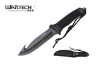 "11"" Black Fixed Hook Blade Hunting Knife with Sheath"