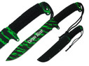 "16"" Full Tang Machete with 10"" Blade and Green Zombie Blood, Cord Wrapped Handle with Three Lanyard Holes and Sheath"