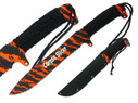 "16"" Full Tang Machete with 10"" Blade and Orange Blood Camo, Cord Wrapped Handle with Three Lanyard Holes and Sheath"
