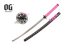 "41"" Samurai Katana Sword Black Scabbard With Pink Marijuana Leaf"