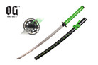 "41"" Samurai Katana Sword Black Scabbard With Green Marijuana Leaf"