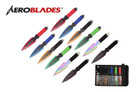 "9"" 12 Pcs Set Thunder Bolt Assorted Color Throwing Knife with 2 Tone Blade Thrower"
