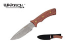 "10"" Full Tang Stonewash Blade Hunting Knife with Wood Handle and Sheath"
